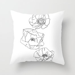 Botanical illustration line drawing - Poppies Throw Pillow