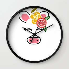 Floral Unicorn Unicorn Flowers Wall Clock