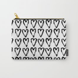 Black & White-Love Heart Pattern-Mix & Match with Simplicty of life Carry-All Pouch