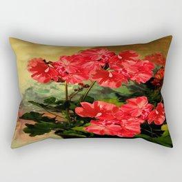 Decorative Red Geraniums  Floral Still Life Art Rectangular Pillow