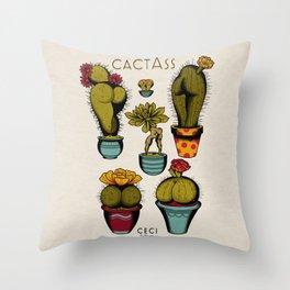 Cactass Throw Pillow