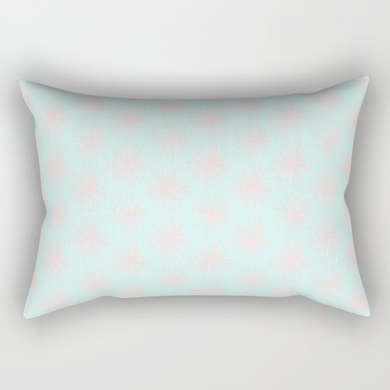 Merry christmas- pink snowflakes and snow on aqua backround I Rectangular Pillow