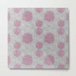Camellia Stamp Pattern Print Metal Print