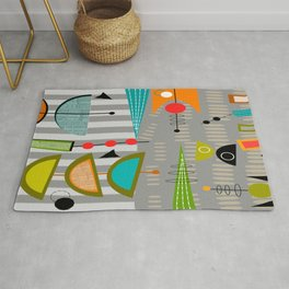 Mid-Century Modern Abstract Atomic Art Rug