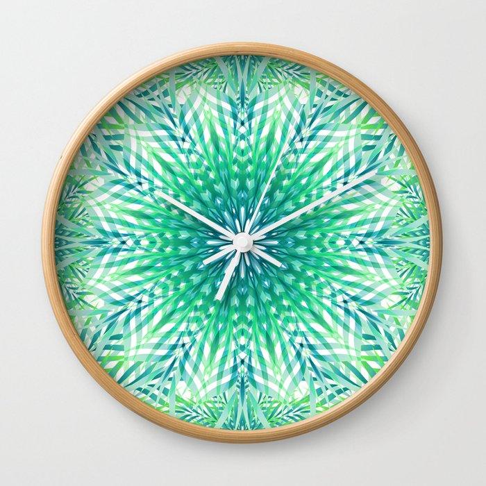 Palm Leaf Mandala Wall Clock