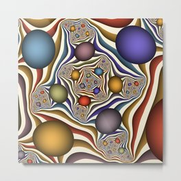 Flying Up, Colorful, Modern, Abstract Fractal Art Metal Print