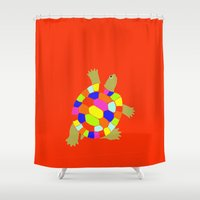 turtle Shower Curtains featuring turtle by vidikay