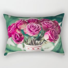 Purple Roses Against Banana Palms Rectangular Pillow