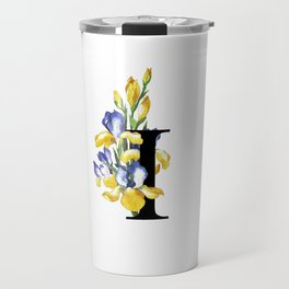 Letter 'I' Iris Flower Typography Travel Mug