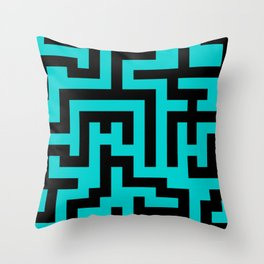 Black and Cyan Labyrinth Throw Pillow