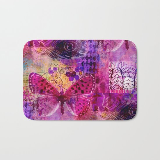 Butterflies Dream In Pink Bath Mat
