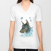 doberman V-neck T-shirts featuring Blue Doberman by Parmelyn