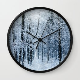 Winter wonderland scenery forest  Wall Clock
