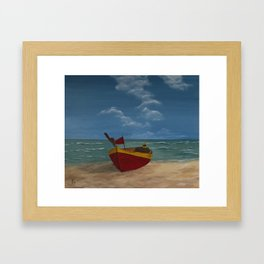 Yellow Red Cockleshell Framed Art Print
