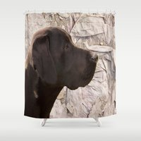 labrador Shower Curtains featuring black Labrador by Doug McRae