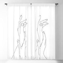 Hands line drawing illustration - Dia Blackout Curtain