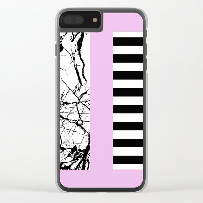 Stripes N Marble 2 - Black and white stripes and marble patterns on a pastel pink background Clear iPhone Case