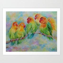 LOVE BIRDS Wildlife Tropical Parrots painting Pastel colors decor for bird lover Art Print