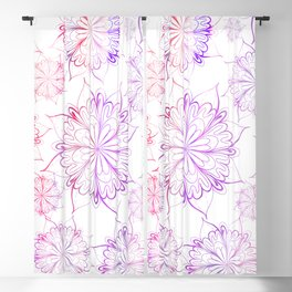Hand painted pink lilac watercolor floral mandala Blackout Curtain