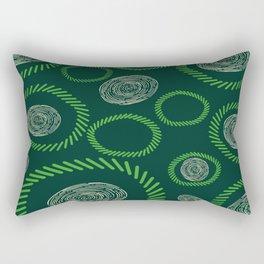 Geometric Circles Lines Green Ivory Rectangular Pillow