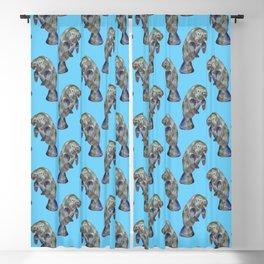 Blue Watercolor Manatee Pattern Blackout Curtain