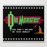 castlevania Canvas Prints featuring Castlevania - Die Monster. You Don't Belong In This World! by Aaron Campbell