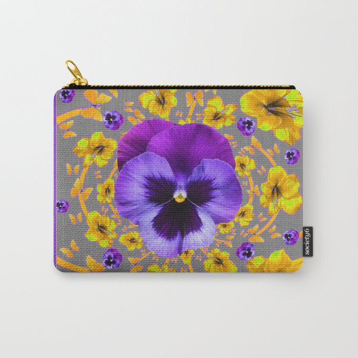 PUCE PANSIES YELLOW BUTTERFLIES & FLOWERS Carry-All Pouch