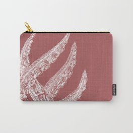Woodcut Style Cthulu Octopus Tentacles on Pink Background Carry-All Pouch