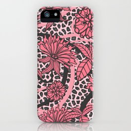 Pink Floral Black White Leopard Print iPhone Case