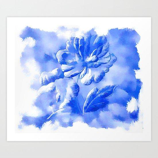 Cyan Painterly Flower Abstract Art Print