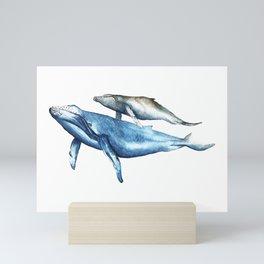 Humpback Whales Mother and Calf  Mini Art Print