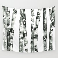birch Wall Tapestries featuring Birch    by kristinesarleyart