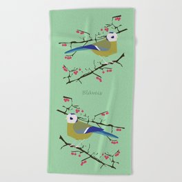 Blue tit with black eye Beach Towel