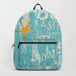 Happy Beach Life- Saying on aqua wood Backpack
