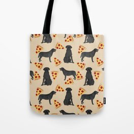 Black lab pizza dog breed pet portrait gifts for labrador retriever lovers Tote Bag