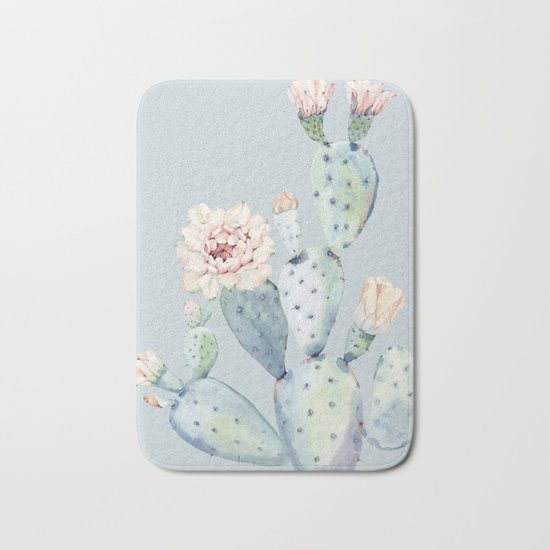 Prettiest Rose Cactus Blue Bath Mat