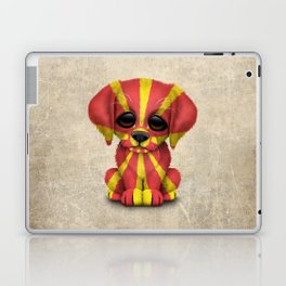 Cute Puppy Dog with flag of Macedonia Laptop & iPad Skin
