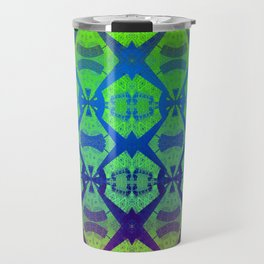 African Vintage Fabric Green Tone Gradient Travel Mug