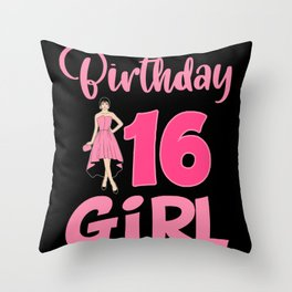 Birthday 16 Girl Party Celebrate Teen 16th Throw Pillow