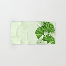 Green Background with Leaves of Ginkgo Biloba Hand & Bath Towel