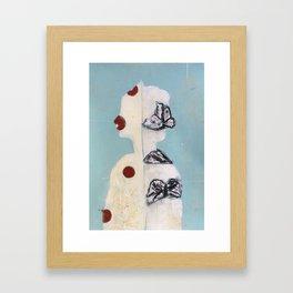 Red dots and butterflies Framed Art Print
