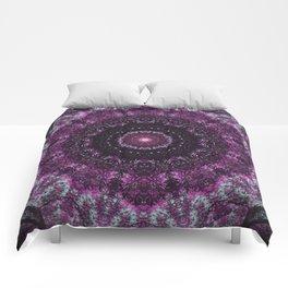 Purple mandala, crown chakra pattern sacred geometry, spiritual yoga art Comforters