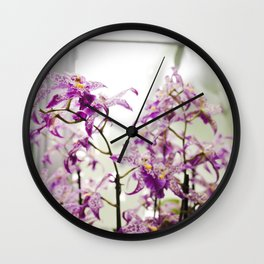 Orchids in Purple Wall Clock