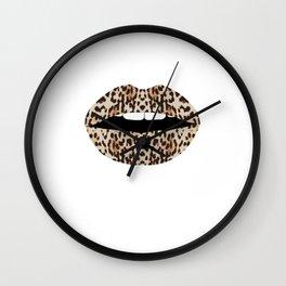 Cheetah Pattern Lips Leopards Fur Kiss Mouth Animal Print Wall Clock