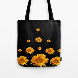 RAINING GOLDEN YELLOW SUNFLOWERS BLACK COLOR Tote Bag