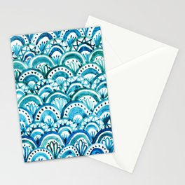 Blue Watercolor Mermaid Pattern Stationery Cards