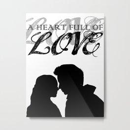 Marius & Cosette - A Heart Full of Love Silhouette Minimalist Metal Print