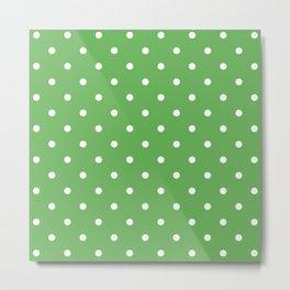 Polka Dots Pattern: Grass Green Metal Print