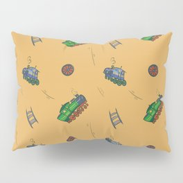 Happy Train Pattern with yellow background Pillow Sham