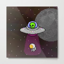 Alien in a ufo abducting an astronaut Metal Print